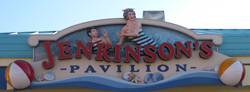 a sign advertising Jenkinson's Boardwalk Pavillion